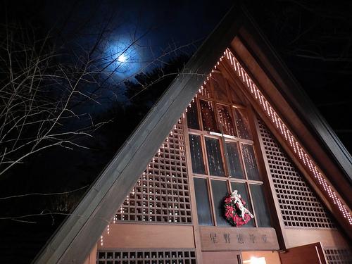 軽井沢  星野や 高原教会のクリスマスイルミネーション