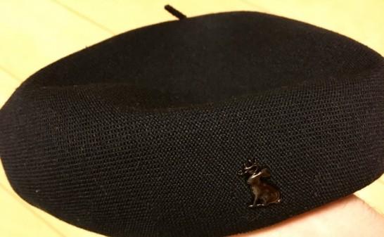 鹿マークのベレー帽